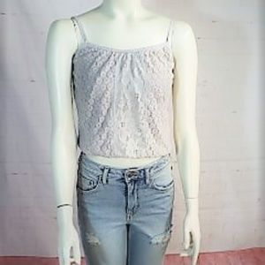 HOLLISTER GRAY LACE TANK TOP XS